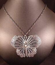 ATTRACTIVE SILVER BUTTERFLY PENDANT NECKLACE WITH  BLACK CHAIN  BOXED