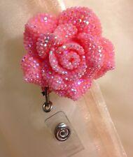 Retractable Reel Bling ID Badge Holder handmade Pink Flower Rhinestones bling