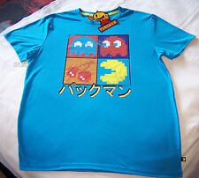 Pac Man Pacman Video Game Mens Blue Printed Short Sleeve T Shirt Size S New