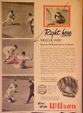 1959 Nellie Fox~Chicago White Sox Baseball Gloves Wilson Sporting Goods Trade AD