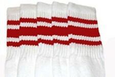 "25"" KNEE HIGH WHITE tube socks with RED stripes style 3 (25-23)"