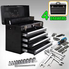 Portable Toolbox Locking Tool Chest Cabinet Garage Storage w/ 4 Drawers Black