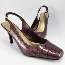 NEW - Dexter Slingback Pumps Womens Size 8.5M Lavender Faux Alligator/Croc Heels