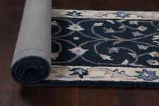 "Traditional Floral NAVY/IVORY 10 ft Oushak Runner Rug Hand-Tufted 9' 8"" x 2' 6"""