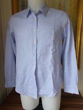 Chemisier coton bleu rayé rose GANT 44/46 18UK manches longues logo brodé