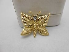 Gorgeous Heavy Vintage 18k Yellow Gold JUDITH RIPKA Diamond Butterfly Brooch Pin