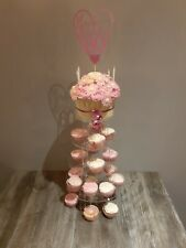 Cake Stand 5 TIER ROUND - Clear Perspex Display Tower for Wedding & Party UK