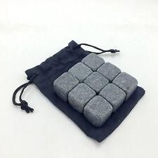 Pack 9Pcs Whisky Ice Stones Drinks Cooler Cubes Vodka Freezer Granite Black