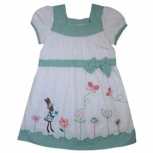 Powell Craft Girls White RABBIT Dress Sundress Summer 1-2, 2-3 yrs Capped Green