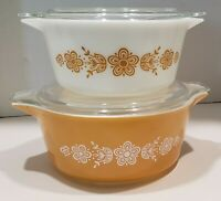 Pyrex Set of 2 Cinderella Casserole Dishes Butterfly Gold,  2 Pyrex Round w/Lids