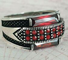 Turkish Ottoman Red Garnet and Agate Gemstone   925 Sterling Silver Men Ring