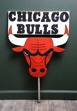 CHICAGO BULLS logo Hand Painted Wooden Yard Sign Post Basketball Jordan Vintage