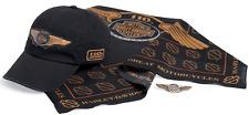 Rare Harley-Davidson Mens 110th Anniversary Cap, Bandana, Pin Ride Pack