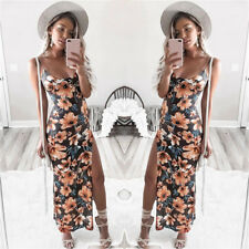 Summer Womens Floral Camis Backless Split Party Sexy Bodycon Beach Long Dress UK