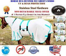"60"" Horse Bug Mosquito Fly Sheet Summer Spring Airflow Mesh Uv Neck White 73140"