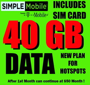 Simple Mobile SIM CARD ⭐️ with $49.99 40 GB PLAN ⭐️ PLAN FOR HOT SPOTS HOTSPOTS