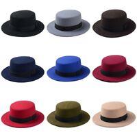 0c96e50f5cc35 Women Boater Hat Bowler Sailor Wide Brim Flat Top Caps Wool Blend Pork Pie  Hats