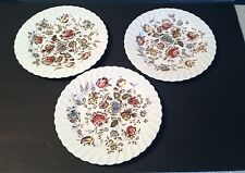 Johnson Bros Ironstone Staffordshire Bouquet Brown 3 Dinner Plates EUC