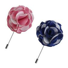 2Pcs Men's Suit Flower Lapel Pin Boutonniere Stick Brooch Pin Formal Jewelry