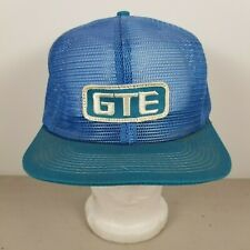 Vintage 80s 90s Gte Logo Patch Snapback Trucker All Mesh Hat Blue