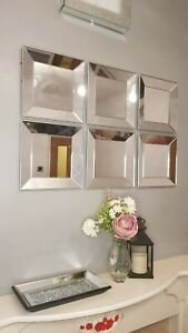 NEW DESIGN Set Of 3 Art Deco Style Square Mirrors Hallway Bedroom Silver Borders