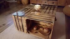 Couchtisch aus geflammten Obstkisten/Apfelkisten/Holzkisten + Rollen +Glasplatte
