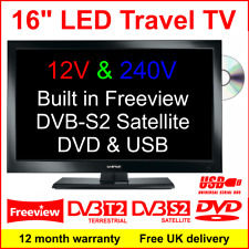 16″ 12v Motorhome Travel TV With DVD Freeview Dvb-s2 Satellite Receiver USB
