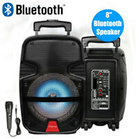 "8"" Portable Bluetooth Party Speaker FM AUX Inputs Rechargeable w/Mic Subwoofer"