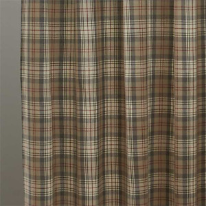 """Taupe Gray, Tan, Red, Cream Plaid """"Gentry"""" Fabric Shower Curtain by Park Designs"""