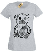 Tattered Teddy Womens T-Shirt goth rock punk spooky gothic bear gift ladies top