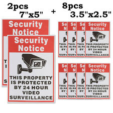 10 Home CCTV Surveillance Security Camera Video Sticker Warning Decal Sign Vinyl