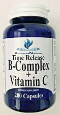 Time Release B-Complex + Vitamin C 200 Caps B 12 Biotin Niacin Riboflavin B 1 2