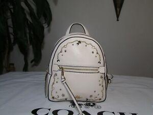 NWT Coach Leather Andi Crystal Rivets Backpack Crossbody F49125 Chalk Multi