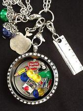Teacher Memory Locket Necklace Teacher Necklace