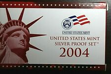 2004-S US Mint Silver Proof Set Includes Silver State Quarter Proofs - Box & COA