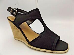 Franco Sarto NOVELLA Women's Black Textile Wedge Sandals SZ 9.0 M, NEW  2957