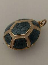 Faberge inspired Ivory Cream Blue Turtle Egg Pendant Bracelet Charm Locket New