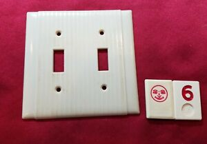 1 Ivory Vtg Ribbed Deco 2 Gang Double Switch Plate Lined Cover - RJ6