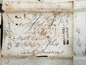Stampless Cover: Letter signed June 30, 1833 sent to Ohio from overseas