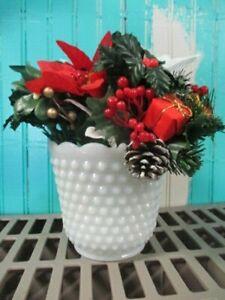Centerpiece Faux Berries Pine Cone Poinsettia & MILK GLASS HOBNAIL Planter vase