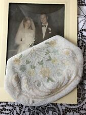 Vtg Bridal Clutch Beaded Wedding Evening Bag Purse White Pink Floral 40s 50s 60s