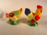 """Vintage Japan ~ Colorful  """"Rooster & Hen""""  Salt & Pepper Shakers"""
