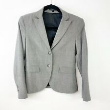 Theory Womens Size 6 double Button Front Blazer Jacket Gray Herringbone Career