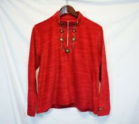 Women's Size L Christopher & Banks 1/4 Zip Red Pullover embroidered Sweater