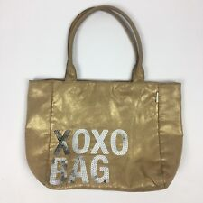 "XOXO Tote Beach Bag Gold Shimmer Metallic Shoulder Leopard Lined 14"" x 11.5"""