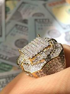Mens Ring Ice Ice Out 2.5ct Created Diamond 14k Gold Pinky Ring size 6-10