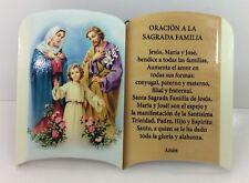 Oracion A La Sagrada Familia ( PAra Mesa o Pared)New 6x4 Pulgadas