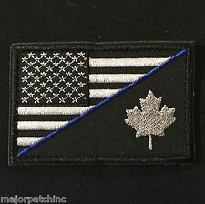 USA CANADA FLAG THIN BLUE LINE POLICE DARK OPS SWAT VELCRO® BRAND FASTENER PATCH