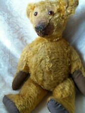 """Very Old Vintage Antique Gold Mohair 17"""" Jointed Glass Eyes Teddy Bear"""