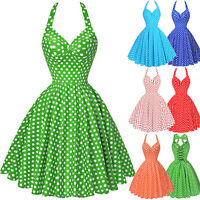 Women's Vintage Style 40s 1950s Retro Polka Dot Swing Pin Up Evening Party Dress